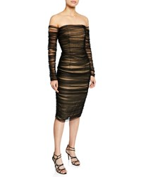 Pamella Roland Off The Shoulder Ruched Tulle Body Con Dress Black