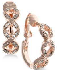 Anne Klein Rose Gold Tone Pave Clip On Hoop Earrings