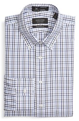 Nordstrom Men's Big And Tall Men's Shop Smartcare Tm Wrinkle Free Traditional Fit Plaid Dress Shirt Blue Hydrangea