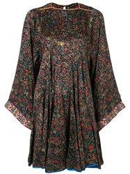 Etro Floral Print Dress Silk Cotton Polyester Viscose Black