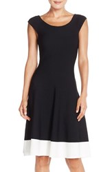 Eliza J Women's Colorblock Fit And Flare Sweater Dress