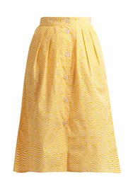 Thierry Colson Striped Pleated Cotton Skirt Yellow White