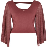 River Island Womens Dark Pink Strappy Back Pleated Sleeve Top