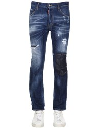 Dsquared Flare Worked Slash Denim Cropped Jeans Blue