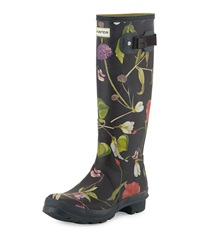 Floral Print Tall Rain Boot Black Hunter Boot
