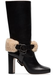 Off White Riding Xx Leather And Shearling Boots Black