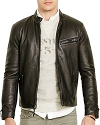 Polo Ralph Lauren Lambskin Leather Cafe Racer Jacket Polo Black