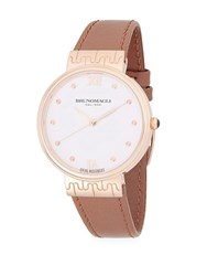 Bruno Magli Unique Stainless Steel Analog Leather Strap Watch Rose Gold