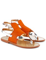 Sanchita Orange Pony Hair Sosai Sandals
