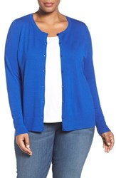 Sejour Plus Size Women's Crewneck Cardigan Blue Surf