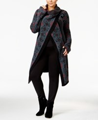 Rachel Roy Curvy Trendy Plus Size Wrap Cardigan Rust Combo