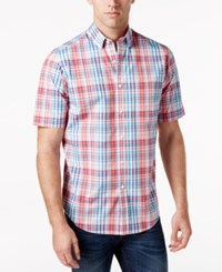 Club Room Men's Big And Tall Plaid Shirt Only At Macy's Lipstick Coral