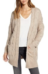 Dreamers By Debut Chunky Cable Knit Cardigan Taupe
