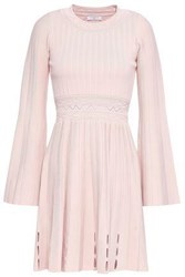 Sandro Pleated Ribbed And Pointelle Knit Mini Dress Baby Pink