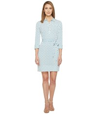 Donna Morgan 3 4 Sleeve Jersey Shirtdress Star Ivory Women's Dress Blue
