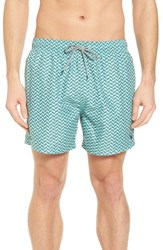 Ted Baker London Caven Geo Print Swim Trunks Mint