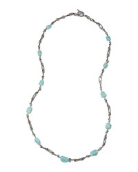 Stephen Dweck Turquoise And Sterling Silver Long Link Necklace