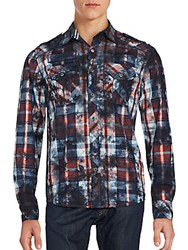 Affliction Cotton Checked Shirt Black Tea