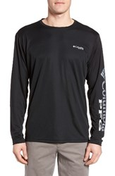 Columbia Men's Pfg Terminal Tackle Performance Long Sleeve T Shirt Black Gulf Stream Logo