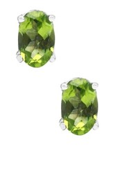 Olivia Leone Sterling Silver Oval Cut Peridot Earrings Green