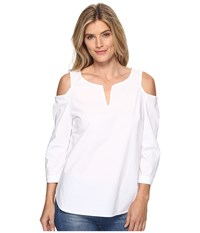 Nydj Agnes Cold Shoulder Top Optic White Women's Clothing