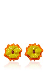 Sabbadini Flower Collection Oval Cut Orange Sapphire Earrings In Yellow