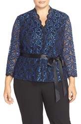 Alex Evenings Belted Sequin Lace Blouse Plus Size Black Royal