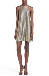 Junior Women's One Clothing Metallic Halter Swing Dress