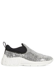 Miu Miu 10Mm Sequined Slip On Sneakers Silver