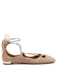 Aquazzura Dancer Wraparound Suede Flats Nude