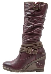 Mustang Wedge Boots Bordeaux