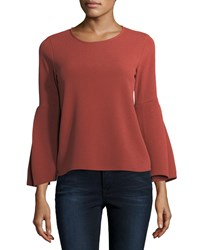 Casual Couture Zip Back Bell Sleeve Blouse Brick