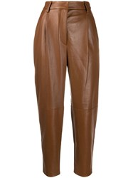 Antonelli Tapered Leather Trousers Brown