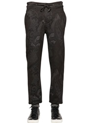 Etro Paisley Print Heavy Cotton Jogging Pants Blue Grey