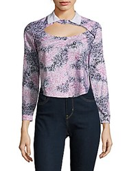 Carven Printed Long Sleeve Cotton Shirt Multicolor