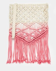 South Beach Crochet Across Body Bag With Tassles In Pink Ombre Pink