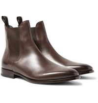 Dunhill Burnished Leather Chelsea Boots Dark Brown