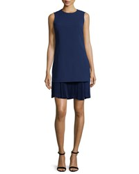 Theory Malkan P Winslow Layered Crepe Dress Sea Blue