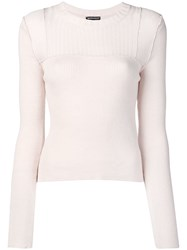 Ann Demeulemeester Ribbed Panel Jumper Neutrals
