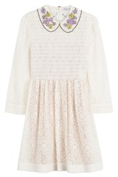Red Valentino Smocked Lace Dress With Collar Beige