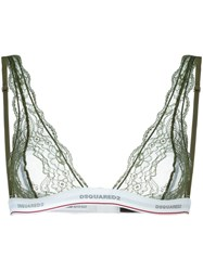 Dsquared2 Underwear Triangle Lace Bra Green