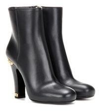 Prada Embellished Leather Ankle Boots Black