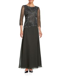J Kara Three Quarter Sleeve Beaded Popover Gown Slate