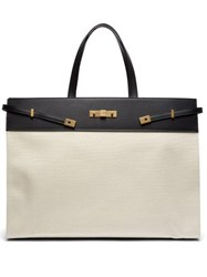 Saint Laurent Manhattan Large Canvas Tote Bag Black White