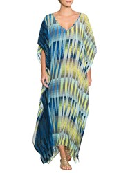 East Silk Geometric Stripe Long Kaftan Ink