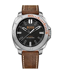 Boss Orange Sao Paulo Stainless Steel Brown Leather Strap Watch 1513294