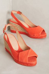 Anthropologie Castaner Brianda Colorblock Espadrille Wedges Red