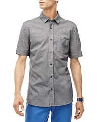 Lacoste Pique Knit Slim Fit Button Down Shirt Silver Gray Chine