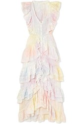 Loveshackfancy India Ruffled Lace Trimmed Tie Dyed Silk Dress White