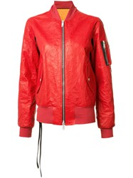 Unravel Project Arm Pocket Bomber Jacket Red